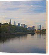 View Of Philadelphia From The Girard Avenue Bridge Wood Print by Bill Cannon