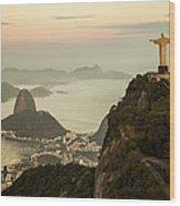 View Of Rio De Janeiro At Dusk Wood Print