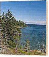 View Of Rock Harbor And Lake Superior Isle Royale National Park Wood Print by Jason O Watson