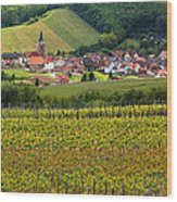 View Of Rodern From The Vineyards Of Alsace Wood Print