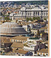 View Of Rome's Rooftops Wood Print