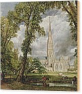 View Of Salisbury Cathedral From The Bishop's Grounds Wood Print