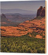 View Of Sedona From The East Wood Print