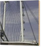 View Of Spokes Of The Singapore Flyer Along With The Base Section Wood Print