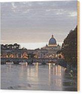 View Of St Peter's Basilica And Saint Angel Bridge Wood Print