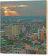 View Of Sun Setting Over Bangkok Buildings From Grand China Princess Hotel In Bangkok-thailand Wood Print