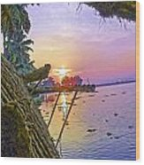 View Of Sunrise From A Houseboat Wood Print