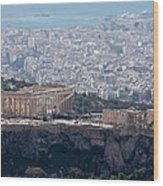 View Of The Acropolis From Lykavittos Hill Wood Print