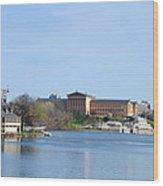 View Of The Art Museum And Waterworks In Philadelphia Wood Print