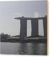 View Of The Artscience Museum And The Marina Bay Sands Resort Wood Print