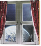 View Of The Earth Through A Window With Curtains Wood Print