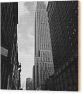View Of The Empire State Building From West 34th Street And Broadway Junction New York City Wood Print by Joe Fox