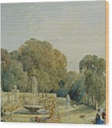 View Of The Gardens At Chatsworth Wood Print