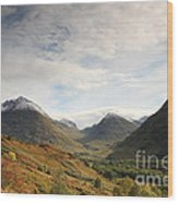 View Of The Glencoe Mountains Wood Print