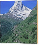 View Of The Matterhorn And The Town Wood Print