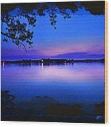 View Of The Night Lake Wood Print