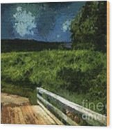 View Of The Night Sky From The Old Bridge Wood Print