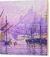 View Of The Port Of Marseilles Enhanced Color Iv Wood Print