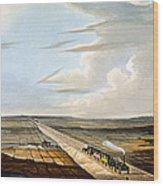 View Of The Railway Across Chat Moss Wood Print