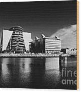 View Of The River Liffey And The Convention Centre Dublin Republic Of Ireland Wood Print by Joe Fox