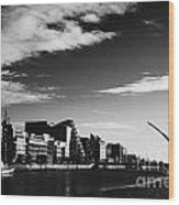 View Of The Samuel Beckett Bridge Over The River Liffey And The Convention Centre Dublin Republic Of Wood Print