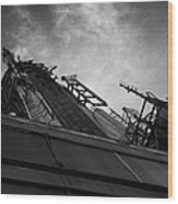 View Of The Top Of The Empire State Building Radio Mast New York City Wood Print