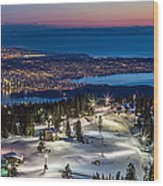 View Of Vancouver City From Grouse Mountain Wood Print
