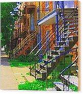 View Of Verdun Steps Stairs Staircases Winding Through Summer  Montrealstreet Scenes Carole Spandau Wood Print