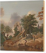 View On The Medway Wood Print