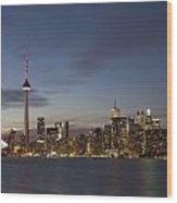 View Over Lake Ontario Of The Downtown Wood Print