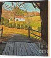 View Through The Meems Bottom Covered Bridge Wood Print