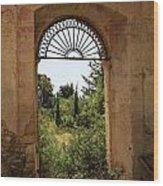 View Through The Monastery Window Wood Print