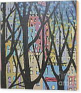 View Through The Park Wood Print