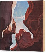 View To The Heavens From Antelope Canyon In Arizona Wood Print