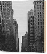View Up 6th Ave Avenue Of The Americas From Herald Square In The Evening New York City Winter Wood Print by Joe Fox