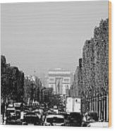 View Up The Champs Elysees Towards The Arc De Triomphe In Paris France  Wood Print