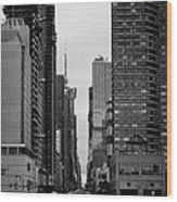 View Up West 42nd Street From The Hudson River New York City Wood Print
