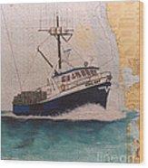 Vigilant Crab Fishing Boat Nautical Chart Art Wood Print