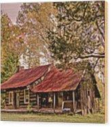 Viintage Cabin Wood Print by Debra and Dave Vanderlaan