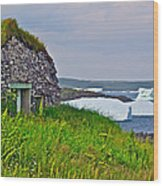 Viking House On Fishing  Point In Saint Anthony-nl Wood Print