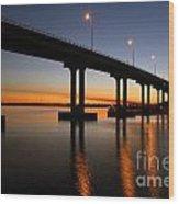 Vilano Bridge At Dusk St Augustine Florida Wood Print