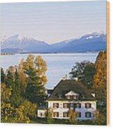 Villa At The Waterfront, Lake Zurich Wood Print