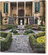 Villa Courtyard Wood Print