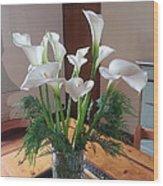 Villa Flowers Wood Print