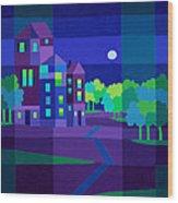 Villa Night Wood Print