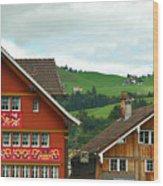 Hotel Santis And Hillside Of Appenzell Switzerland Wood Print