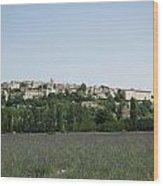 Village Beyond The Lavender Field Wood Print