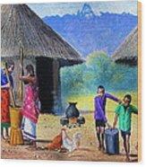 Village Chores Wood Print