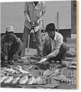 Village Fish Market 1 Wood Print by Bobby Mandal