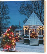 Village Green Holiday Greetings- New Milford Ct - Wood Print